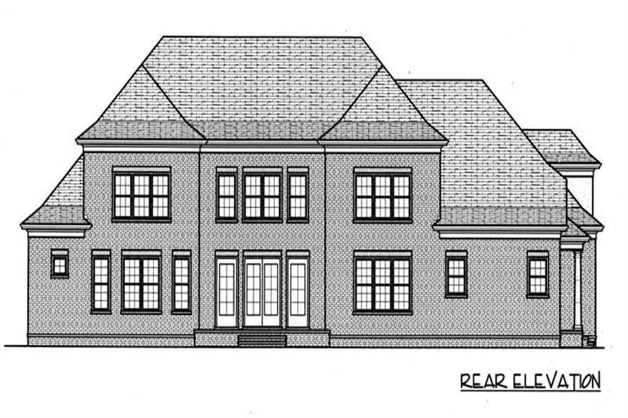 Home Plan Rear Elevation of this 4-Bedroom,4574 Sq Ft Plan -127-1051
