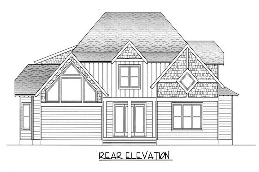 Home Plan Rear Elevation of this 4-Bedroom,2916 Sq Ft Plan -127-1052
