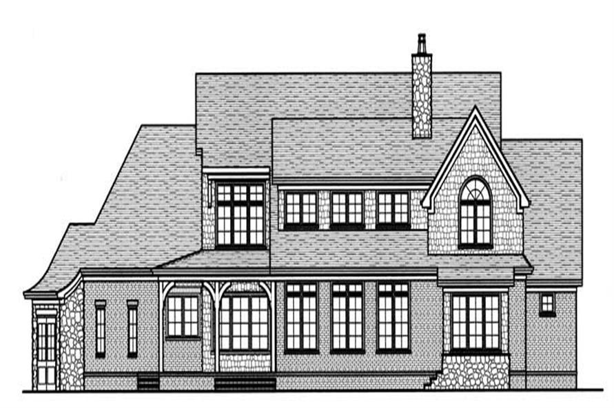 Home Plan Rear Elevation of this 4-Bedroom,4234 Sq Ft Plan -127-1054