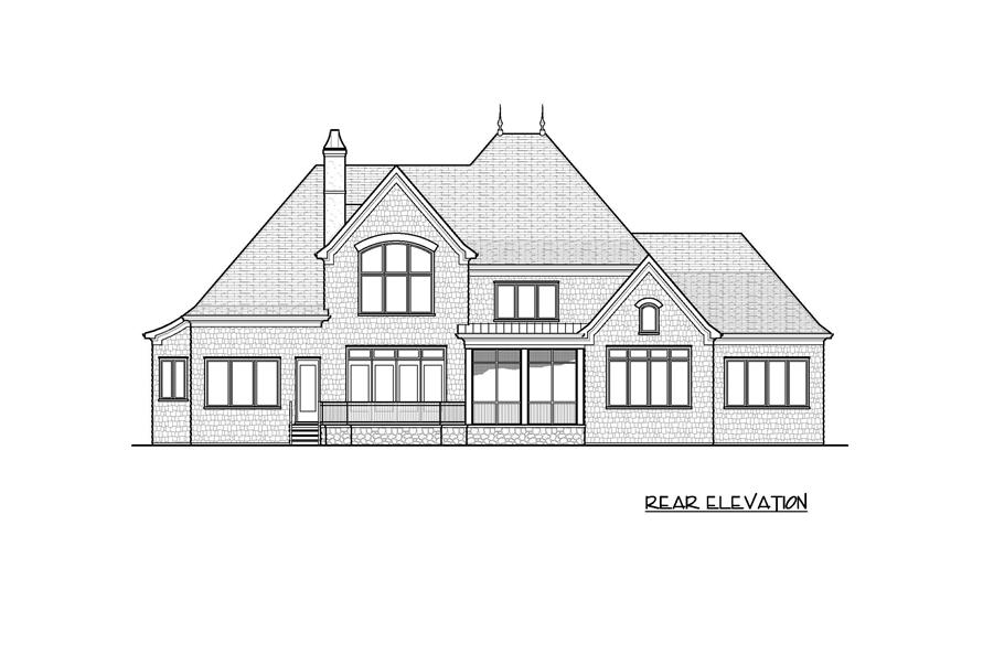 Home Plan Rear Elevation of this 4-Bedroom,6424 Sq Ft Plan -127-1055
