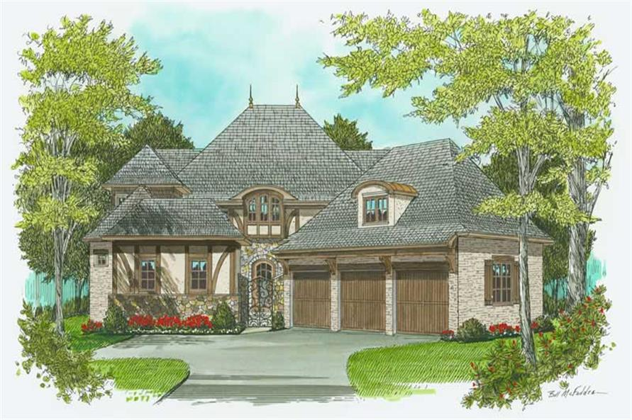 4-Bedroom, 3974 Sq Ft European Home Plan - 127-1058 - Main Exterior