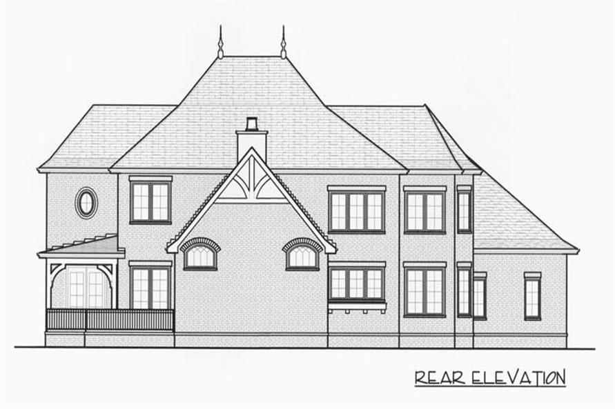 Home Plan Rear Elevation of this 4-Bedroom,3974 Sq Ft Plan -127-1058