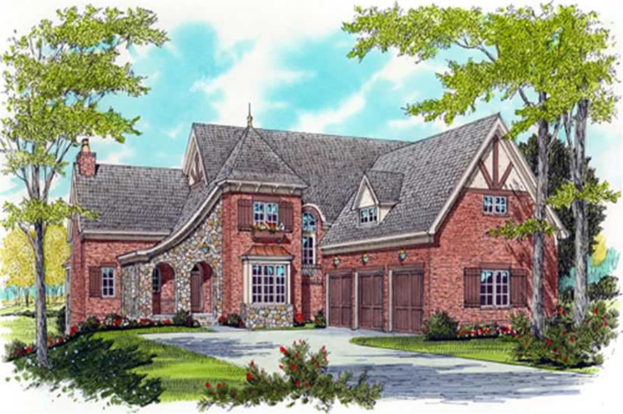 4-Bedroom, 3784 Sq Ft French House Plan - 127-1059 - Front Exterior