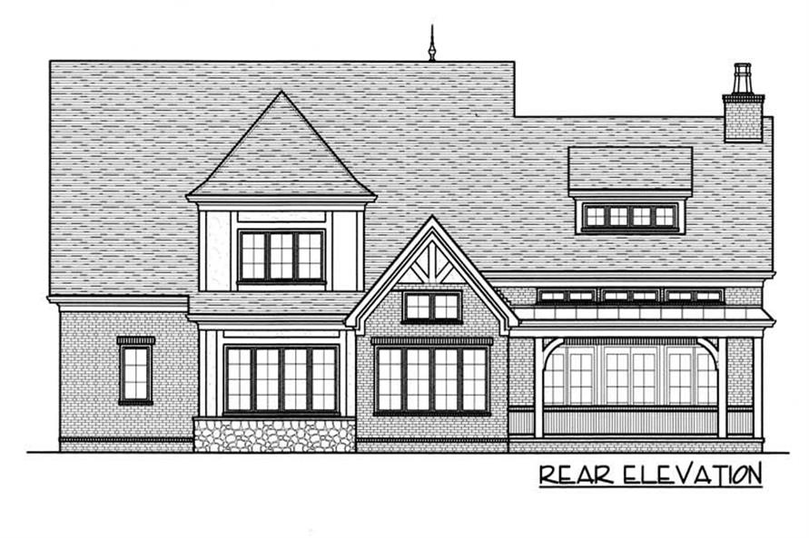 Home Plan Rear Elevation of this 4-Bedroom,3784 Sq Ft Plan -127-1059