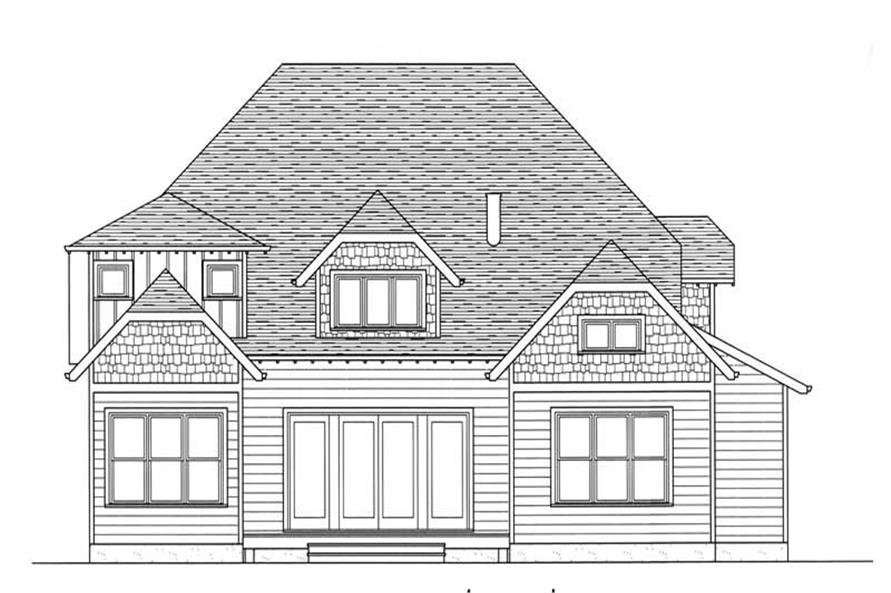 Home Plan Rear Elevation of this 4-Bedroom,3493 Sq Ft Plan -127-1064