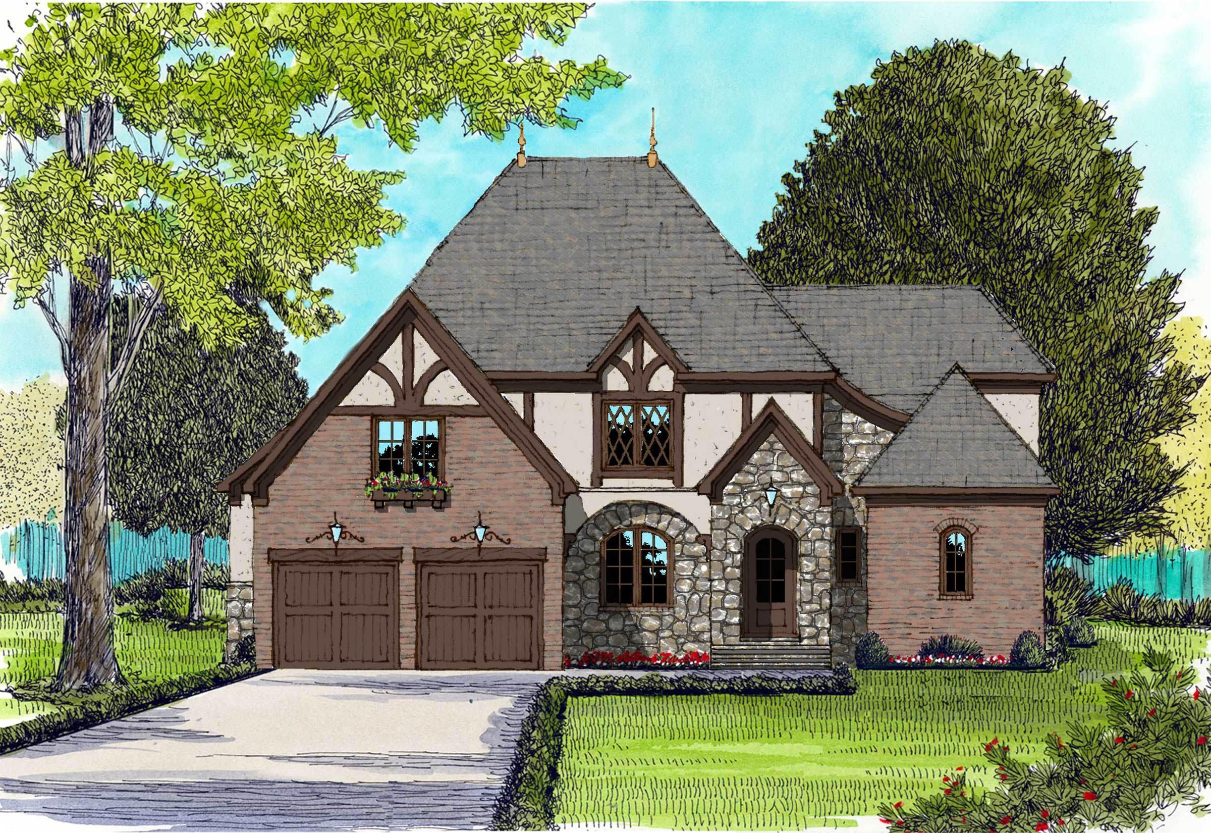 French plans edg 3910 for French tudor house plans