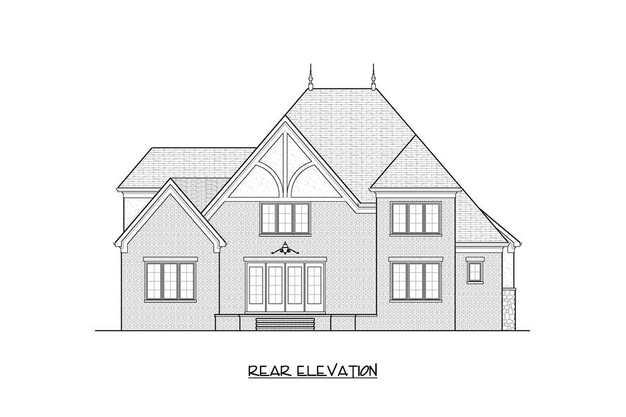 Home Plan Rear Elevation for this set of french homeplans.