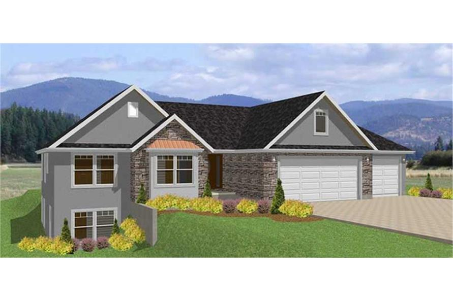 3-Bedroom, 2066 Sq Ft Ranch House Plan - 129-1001 - Front Exterior