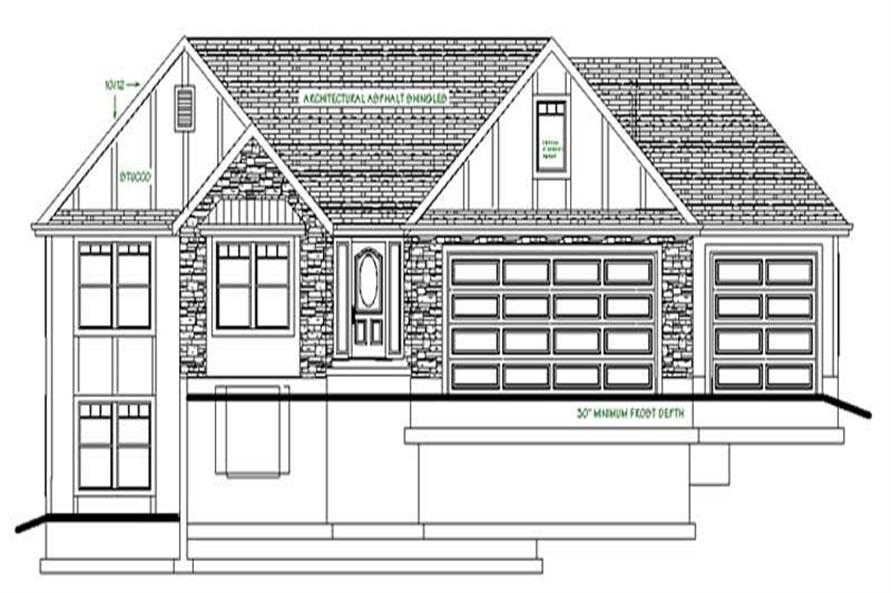 Home Plan Front Elevation of this 3-Bedroom,2066 Sq Ft Plan -129-1001