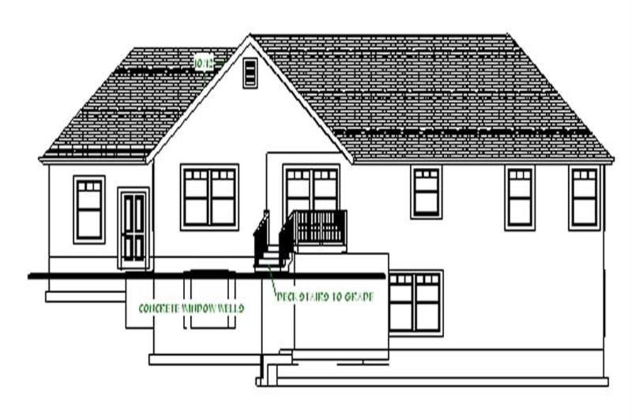 Home Plan Rear Elevation of this 3-Bedroom,2066 Sq Ft Plan -129-1001