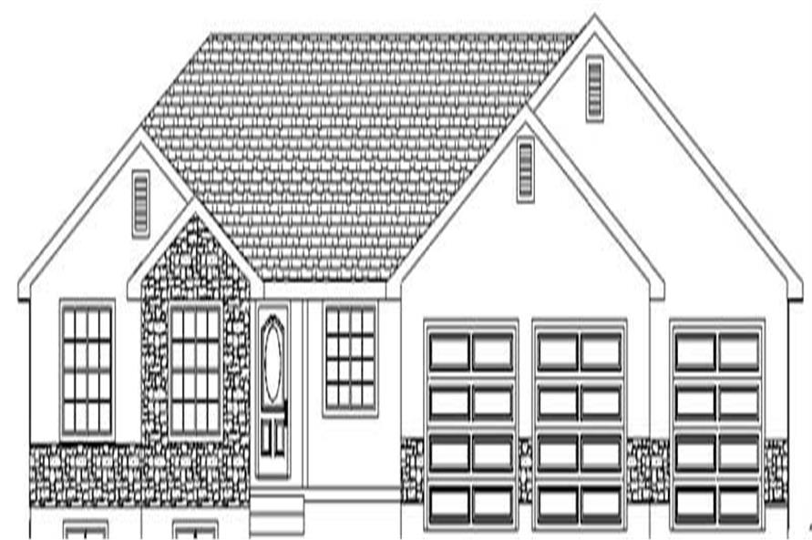 3-Bedroom, 1858 Sq Ft Ranch Home Plan - 129-1004 - Main Exterior