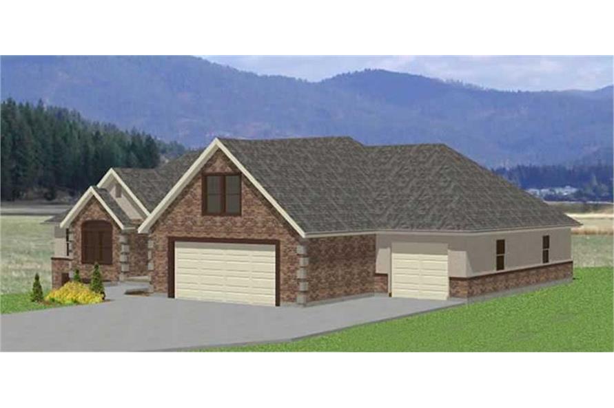 129-1007: Home Plan Rear Elevation
