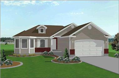 3-Bedroom, 1325 Sq Ft Contemporary Home Plan - 129-1011 - Main Exterior