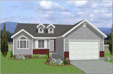 3-Bedroom, 1309 Sq Ft Contemporary Home Plan - 129-1014 - Main Exterior