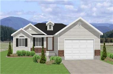3-Bedroom, 1361 Sq Ft Contemporary Home Plan - 129-1018 - Main Exterior