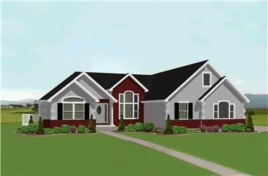 Color rendering of Country home plan (ThePlanCollection: House Plan #129-1032)