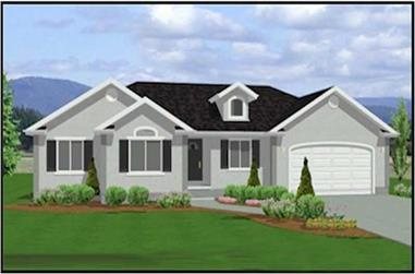 3-Bedroom, 1377 Sq Ft Contemporary Home Plan - 129-1036 - Main Exterior