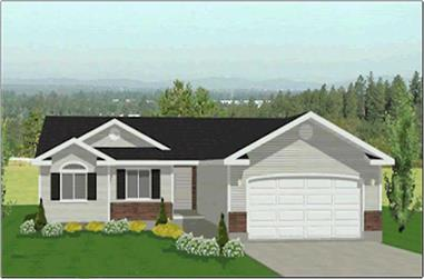 3-Bedroom, 1309 Sq Ft Contemporary Home Plan - 129-1039 - Main Exterior