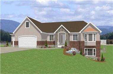 3-Bedroom, 1940 Sq Ft Contemporary Home Plan - 129-1041 - Main Exterior
