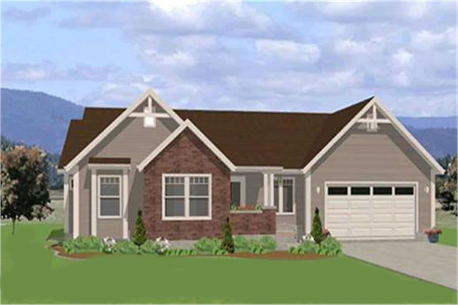 Home Plan Front Elevation of this 3-Bedroom,1490 Sq Ft Plan -129-1046