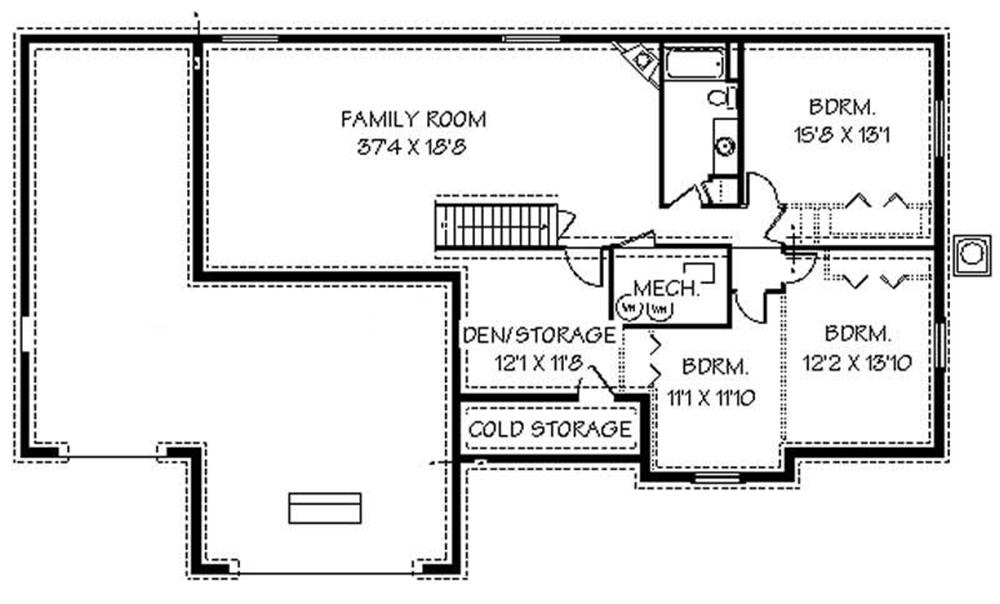 Contemporary ranch house plans home design edc r1786 8249 for Ranch floor plans with basement