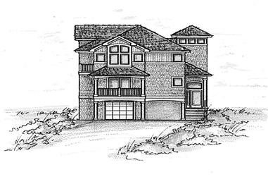 4-Bedroom, 3435 Sq Ft Coastal House Plan - 130-1000 - Front Exterior