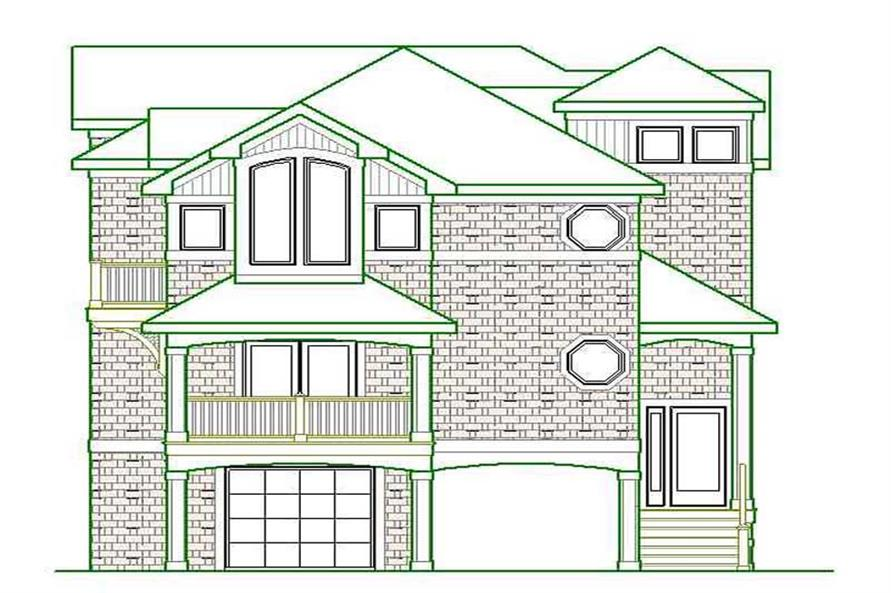 Home Plan Front Elevation of this 4-Bedroom,3435 Sq Ft Plan -130-1000