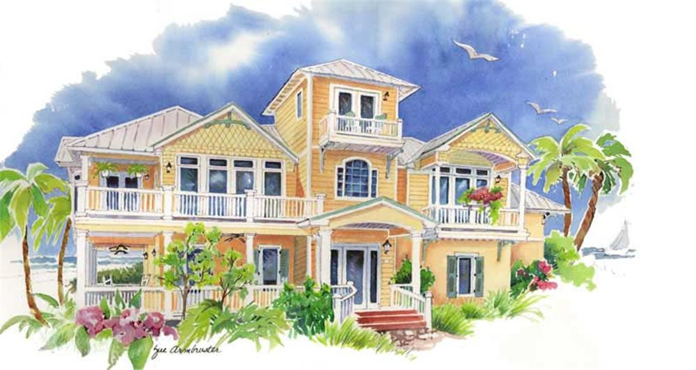 Front elevation of Coastal home (ThePlanCollection: House Plan #130-1002)