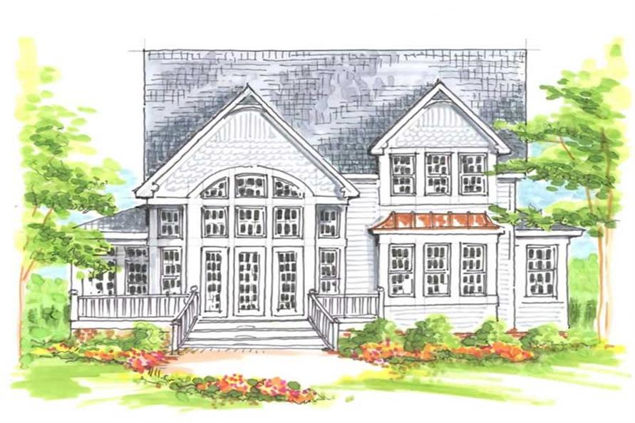 Home Plan Front Elevation of this 4-Bedroom,2459 Sq Ft Plan -130-1004