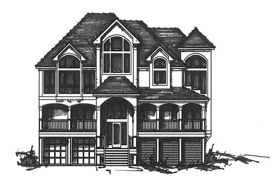 6-Bedroom, 4973 Sq Ft Coastal House Plan - 130-1006 - Front Exterior