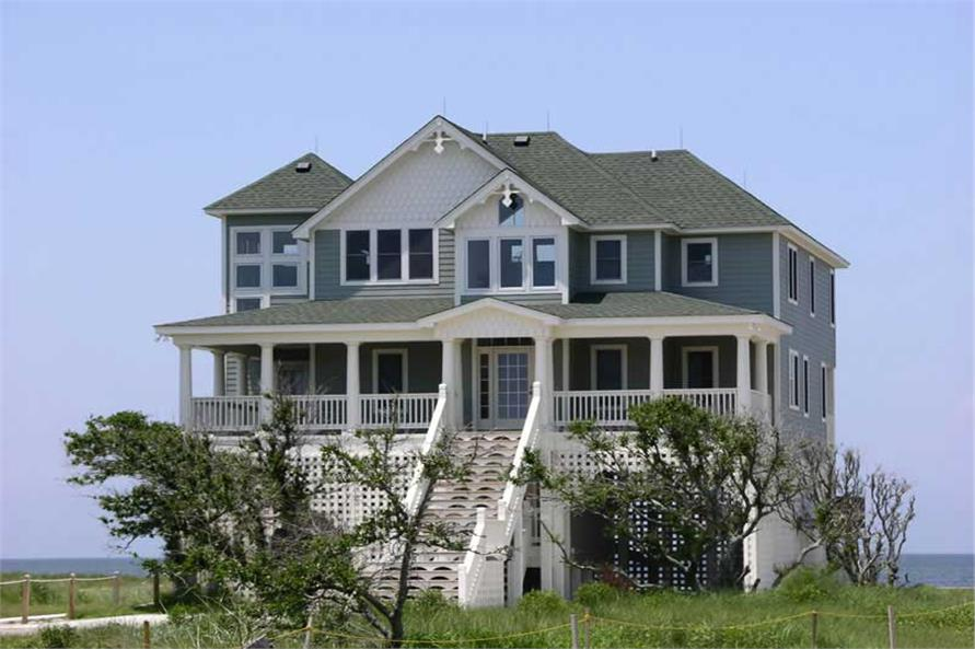 4-Bedroom, 2398 Sq Ft Beachfront House Plan - 130-1007 - Front Exterior
