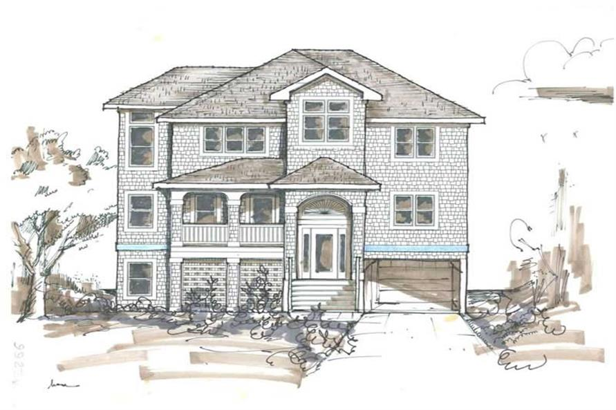 Home Plan Front Elevation of this 6-Bedroom,2791 Sq Ft Plan -130-1009