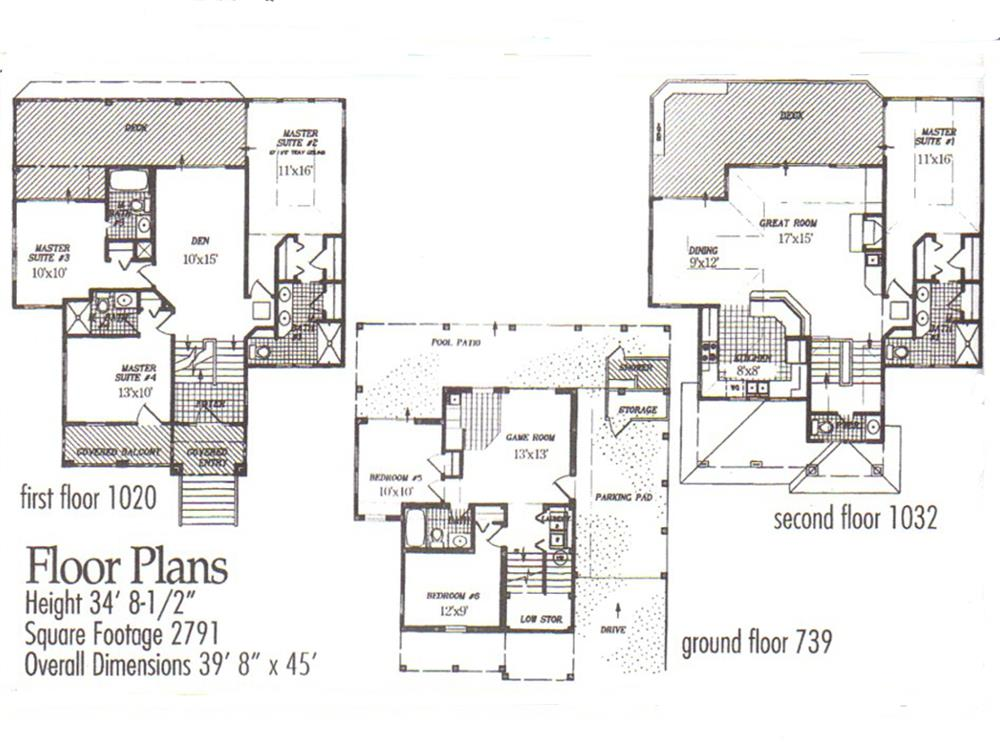 130-1009: Floor Plans - All Levels with Room Measurements