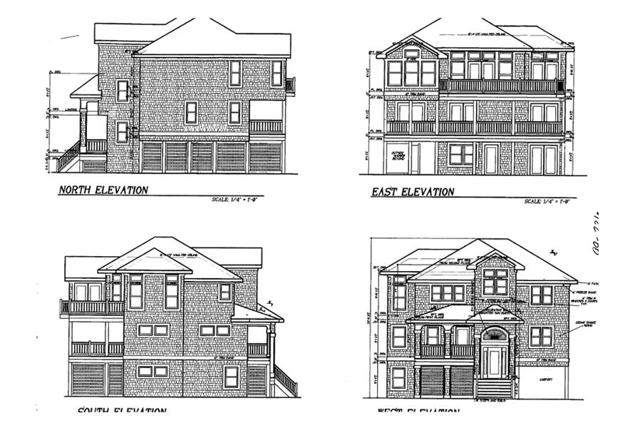 130-1009: Home Plan Left Elevation, Right Elevation, Rear Elevation, Front Elevation
