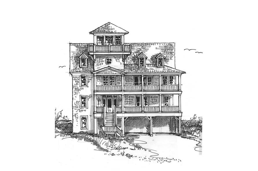 Front elevation of Coastal home (ThePlanCollection: House Plan #130-1010)