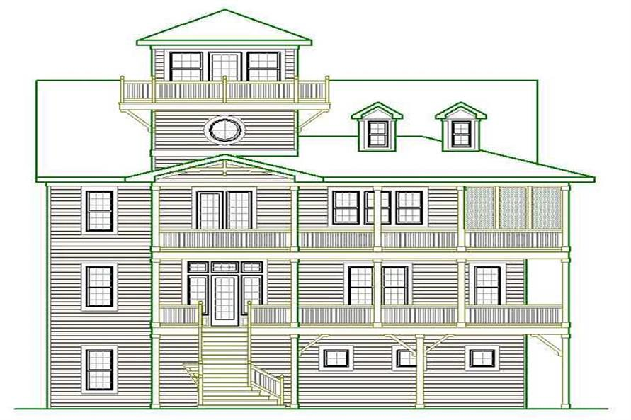 Home Plan Front Elevation of this 6-Bedroom,4610 Sq Ft Plan -130-1010