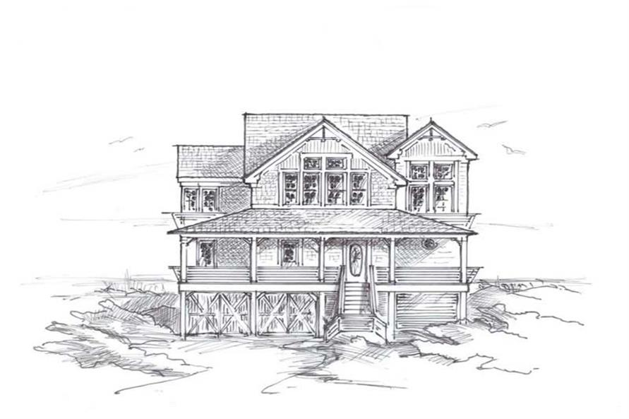 Home Plan Front Elevation of this 6-Bedroom,3354 Sq Ft Plan -130-1011