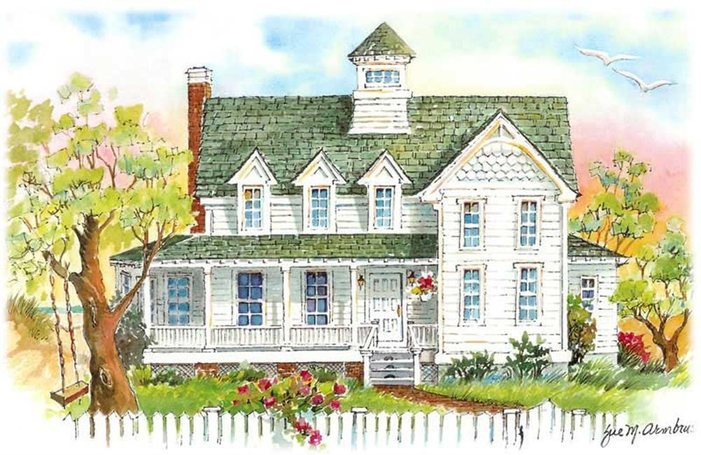 Front elevation of Coastal home (ThePlanCollection: House Plan #130-1012)