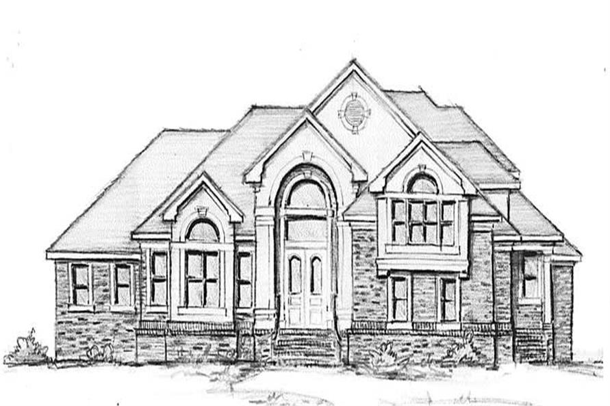 Home Plan Front Elevation of this 4-Bedroom,3521 Sq Ft Plan -130-1013