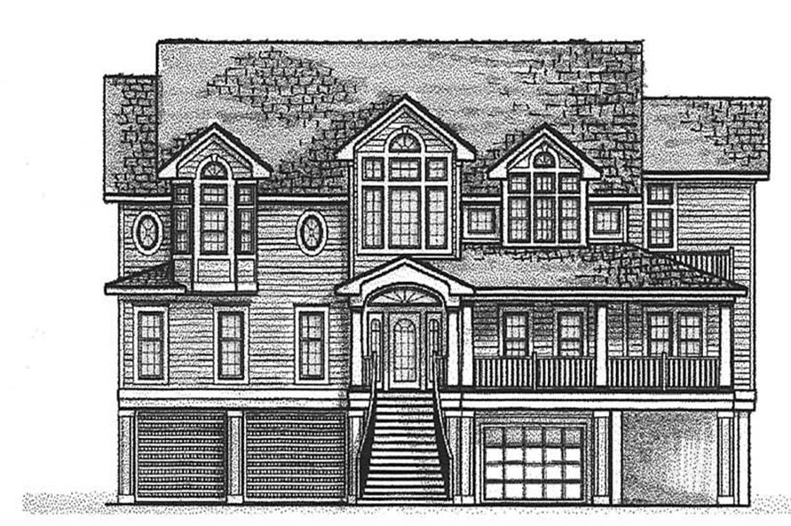 Home Plan Front Elevation of this 6-Bedroom,4676 Sq Ft Plan -130-1015