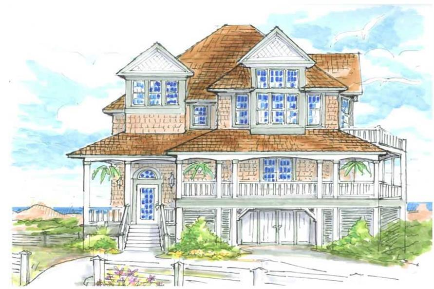 Home Plan Front Elevation of this 5-Bedroom,2739 Sq Ft Plan -130-1016
