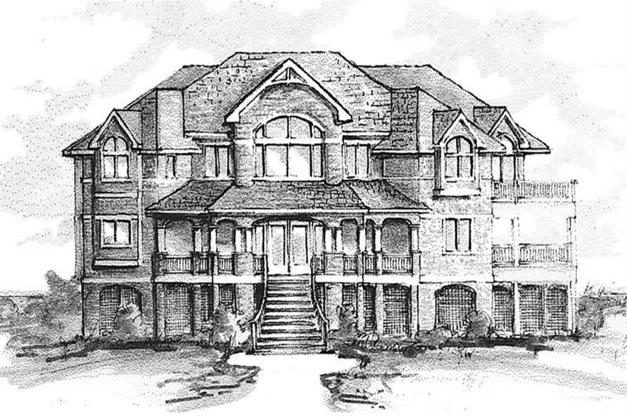 Home Plan Front Elevation of this 6-Bedroom,4864 Sq Ft Plan -130-1017