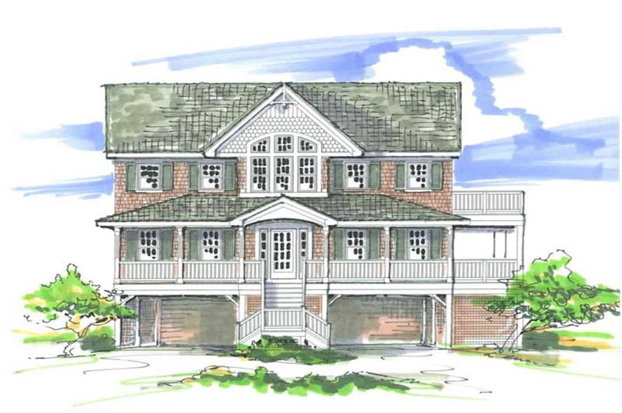 Home Plan Front Elevation of this 7-Bedroom,2856 Sq Ft Plan -130-1020