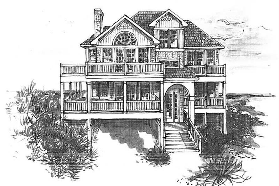 Home Plan Front Elevation of this 4-Bedroom,2008 Sq Ft Plan -130-1023