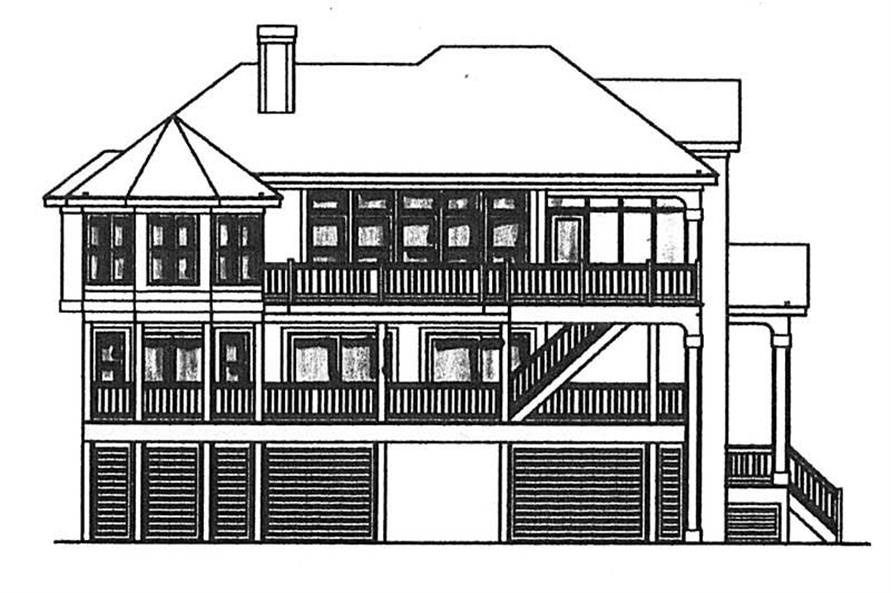Home Plan Rear Elevation of this 5-Bedroom,3341 Sq Ft Plan -130-1026