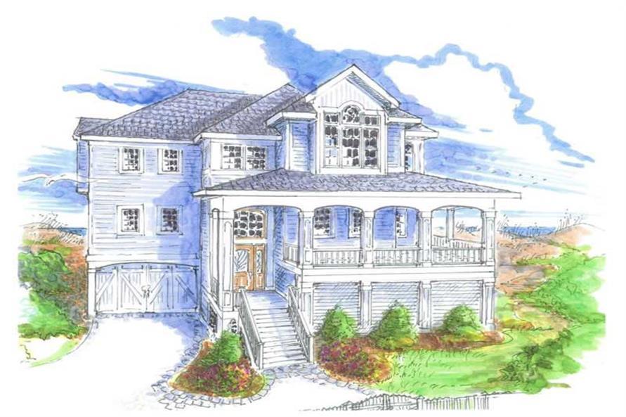 4-Bedroom, 2372 Sq Ft Coastal House Plan - 130-1028 - Front Exterior
