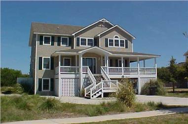 7-Bedroom, 3092 Sq Ft Coastal House Plan - 130-1029 - Front Exterior