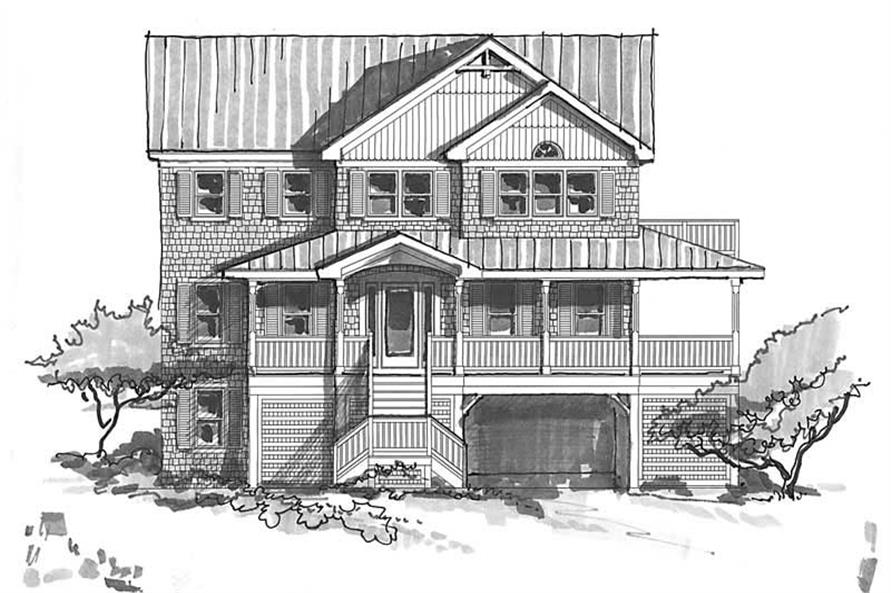 Home Plan Front Elevation of this 7-Bedroom,3092 Sq Ft Plan -130-1029