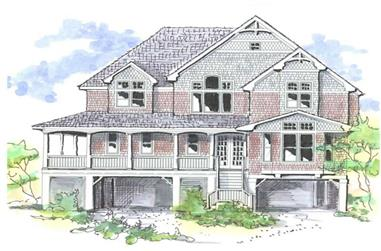 4-Bedroom, 3168 Sq Ft Coastal House Plan - 130-1030 - Front Exterior