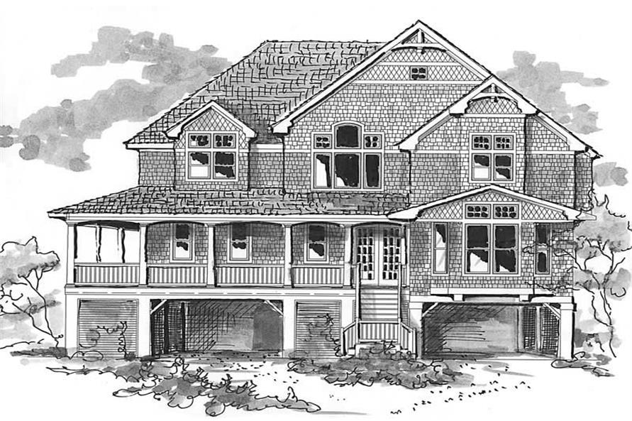 Home Plan Front Elevation of this 4-Bedroom,3168 Sq Ft Plan -130-1030